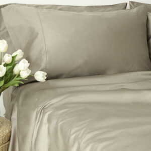 Organic Cotton Sateen 4 Piece Sheet Set (Taupe)