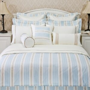 Mitered Stripes Duvet Cover Set (Aqua)